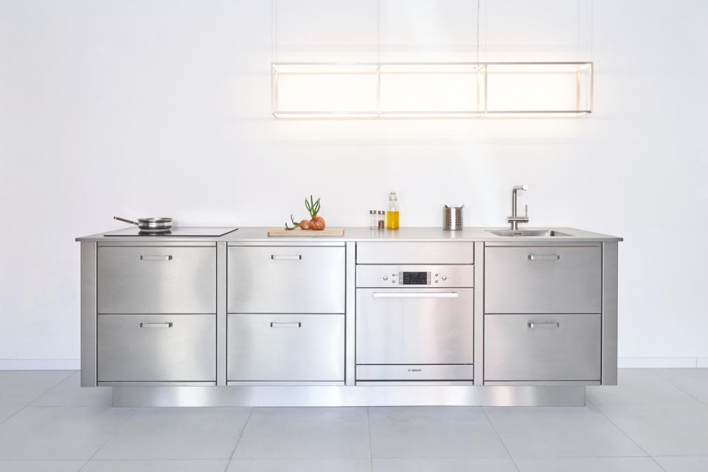 Cucina in acciaio ambiente moderno